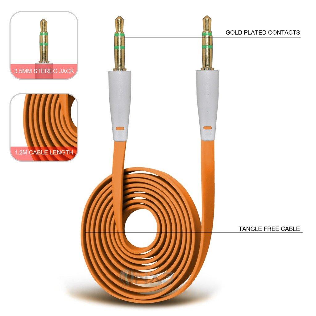 (Orange) OnePlus 2 Cable plano plateado oro de 3,5 mm a la toma de conexión de audio auxiliar Aux ONX3®: Amazon.es: Electrónica