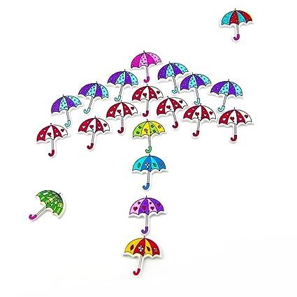 SODIAL Paquete de 50pzs Botones de Paraguas Varios Botones de Madera ...