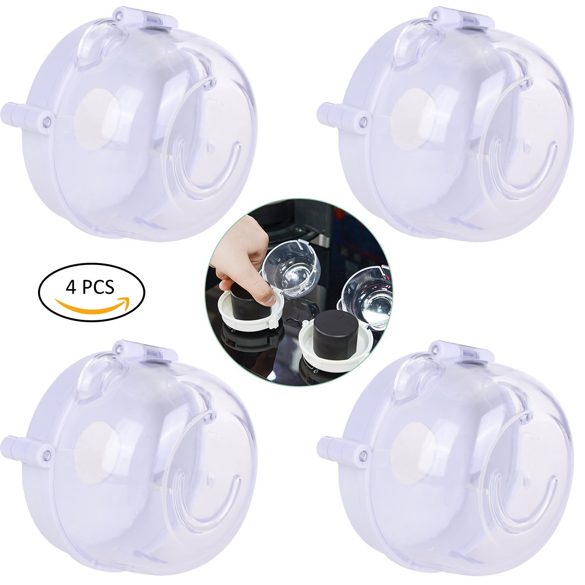 YoungRich 4Pcs Universal Kitchen Stove Knob Covers Protection Locks Easy Set-up Clear View Heat Resistant for Child Safety
