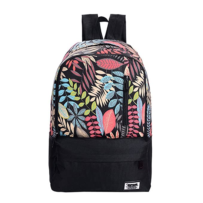 728396a688 Women Lightweight Nylon Casual Daypack Backpack Fresh Leaves Printing  Student School Backpack Roomy Travel iPad Laptop Bag Schoolbag Handbag  Assorted Colors ...
