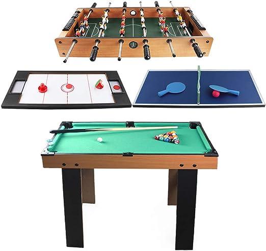 RGZZGAQM Mesa de Juegos 4 en 1 multideportes, Mesa de Billar ...