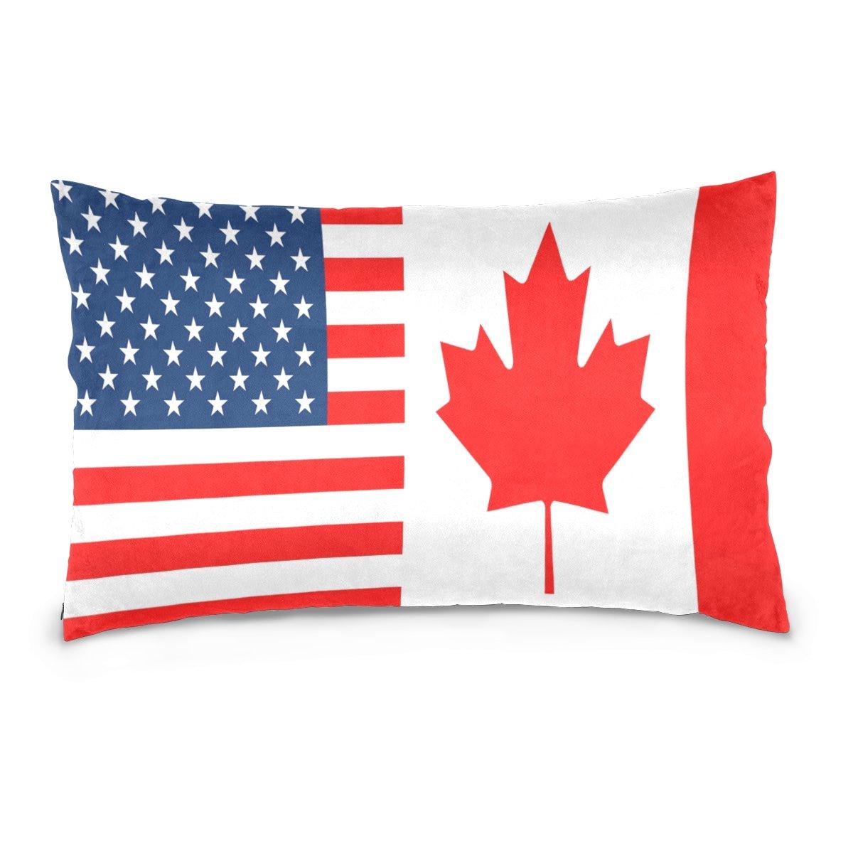 Alaza両面USA Flagカナダ国旗コットンベルベット枕カバー正方形と長方形標準サイズソファウエストスロークッションカバーホーム飾り 16x24 B07BMMYYMR  マルチ-1 16x24