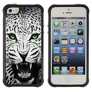 Fuerte Suave TPU GEL Caso Carcasa de Protección Funda para Apple Iphone 5 / 5S / Business Style Green Emerald Eyes Leopard Jaguar Black