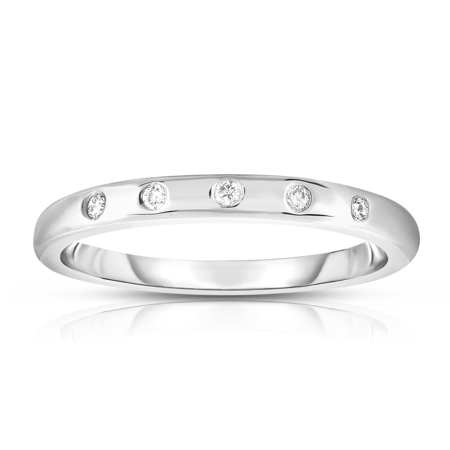 Noray Designs 14K White Gold (0.06 Ct, G-H, SI2-I1 Clarity) Stackable Ring. Available in sizes 4 to 9.