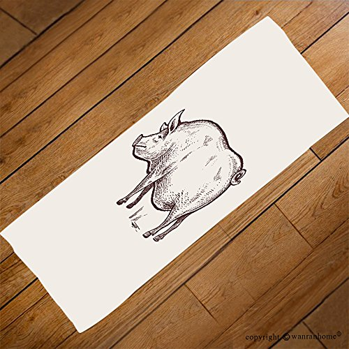 VROSELV Custom Towel Soft and Comfortable Beach Towel-pig series of farm animals graphics hand drawing sketch vintage engraving st Design Hand Towel Bath Towels For Home Outdoor Travel Use 27.6''x11.8'' by VROSELV