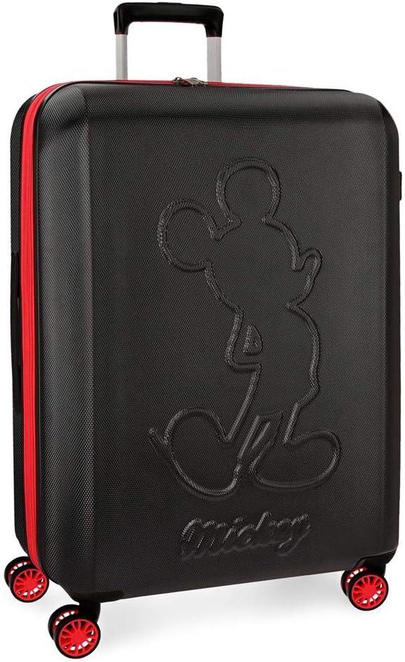 Maleta grande Mickey Colored rígida 68cm negra