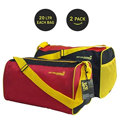c60c754ebd0 Mufubu Presents Get Unbarred Pack of 2 Red   Black Duffle Gym Bag 20 LTR  Each  Amazon.in  Bags