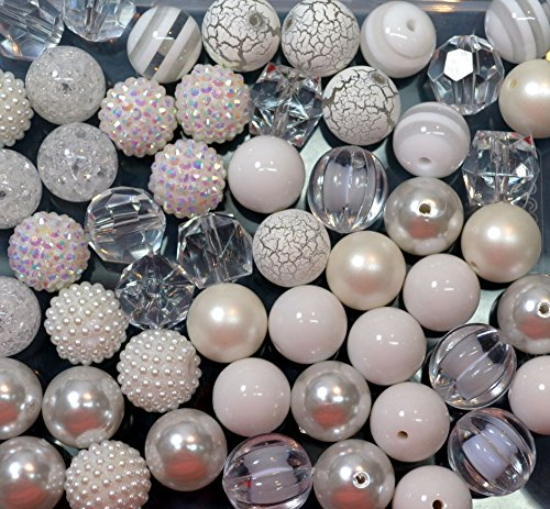 20mm Bulk Mix of 52 White and Clear Chunky Bubblegum Beads 11 Styles Acrylic Gumball Beads Lot