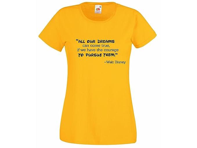 """Camiseta para dama con Walt Disney Frase """"Todos nuestros dreams puede venir true"""""""