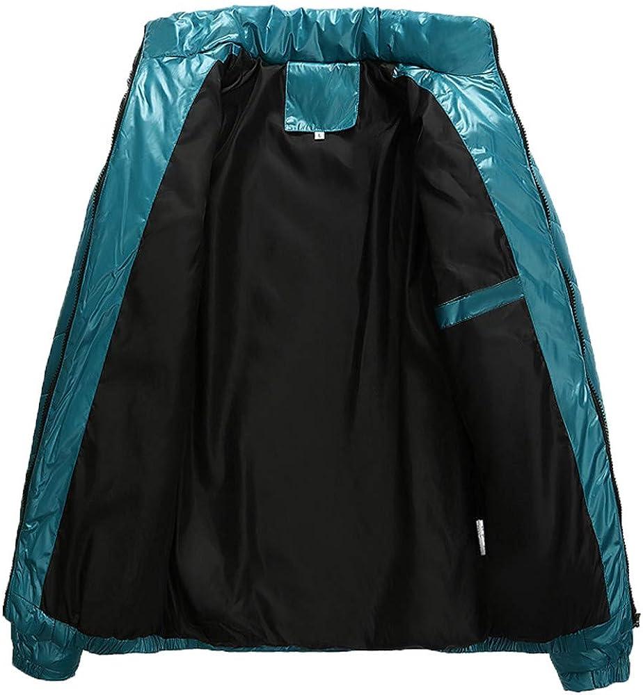 TAGGMY Jacket Men Fashion Winter Warm Plus Size Casual Zipper Pocket Down Stand Collar Outwear Tops Coat Black Blue 3XL 5XL