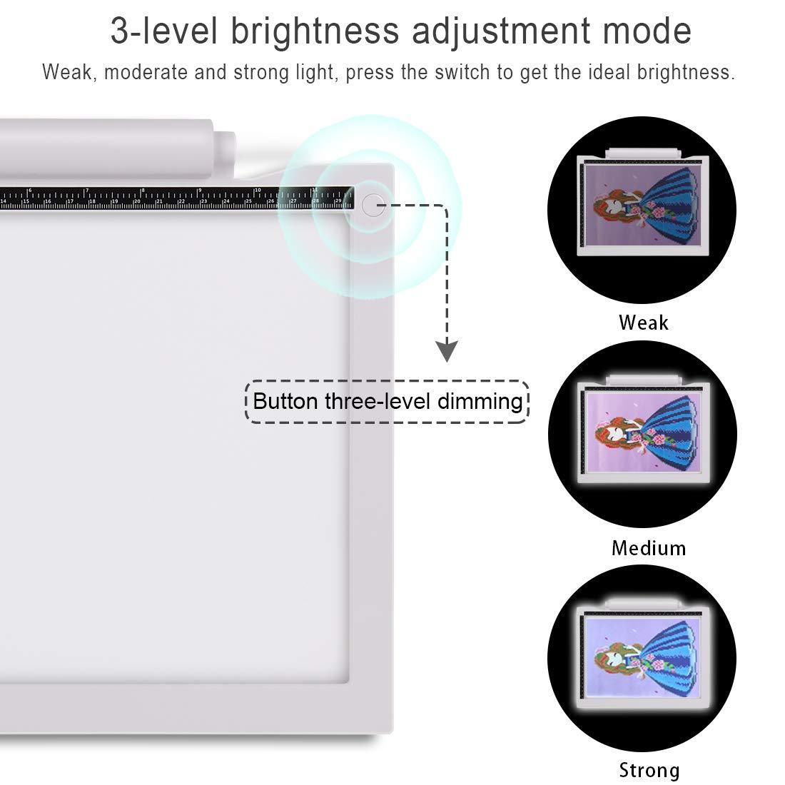 Genround A4 LED Leuchttisch Aktualisierung Batteriebetrieben Leuchtplatte LED Zeichnung Pad Mit 3-stufiger Helligkeit und USB Kable Ideal f/¨/¹r Designen Kopieren Zeichnen Skizzieren Keine Batterie