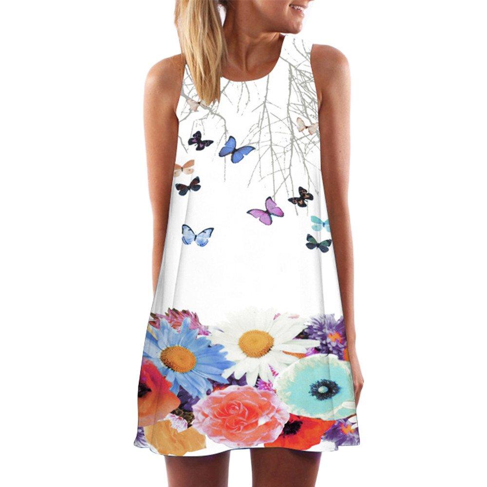 Ghazzi Women Tank Top Vintage Boho Summer Beach Printed Short Mini Dress Sleeveless Camisoles Tuinic Tops