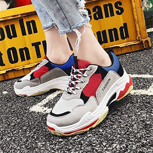 Lovelysi Deportivo Invierno 40eu Sneakers Zapatillas fitness Otoño Cordones Chunky Mujers Patchwork Malla Calzado 35eu Casual Rojo Correr Para Running Zapatos De Atletismo wrqATwRI