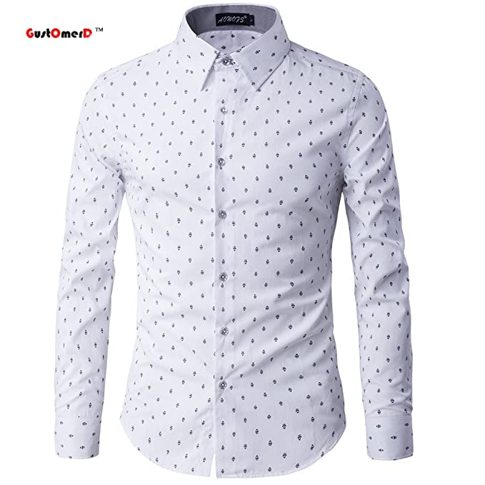 Fashion New Men Casual Shirts Printing Slim Fit Men Business Style Shirt  2017 Unique Design Long Sleeve Shirts Men Chemise Homme  Amazon.in  Clothing    ... 127547f64c4
