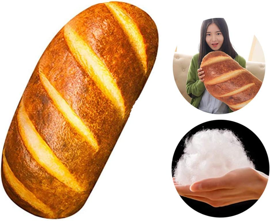Haozhixin 3D Simulation Bread Shape Pillow,Soft Butter Toast Bread Pillow,Food Plush Stuffed Toy,Food Throw Pillow Back Cushion Office Sleep Pillow for Home Sofa Decor ( 31.5inch )
