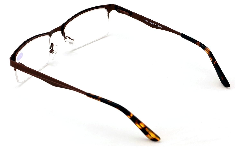 Premium Metal Half Rim Reading Glasses With Anti-reflective AR Coating Spring Hinge Reader