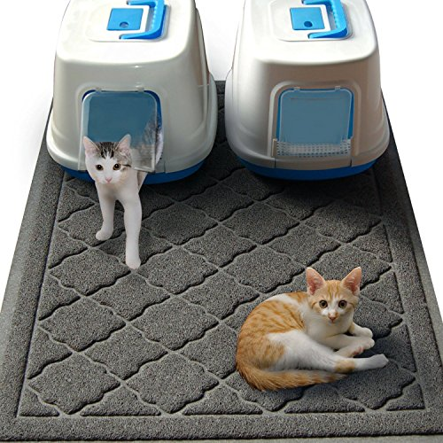 "Easyology JUMBO 47"" x 36"" Cat Litter Mat, Traps Messes, Easy Clean, Durable, Non Toxic - GRAY"