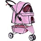New Pet Stroller Cat Dog Cage 3 Wheels Stroller Travel Folding Carrier T13