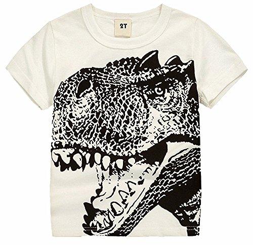2Bunnies Little Boys Toddler Dinosaur T Rex Short Sleeve Tee T Shirt (5, White) ()