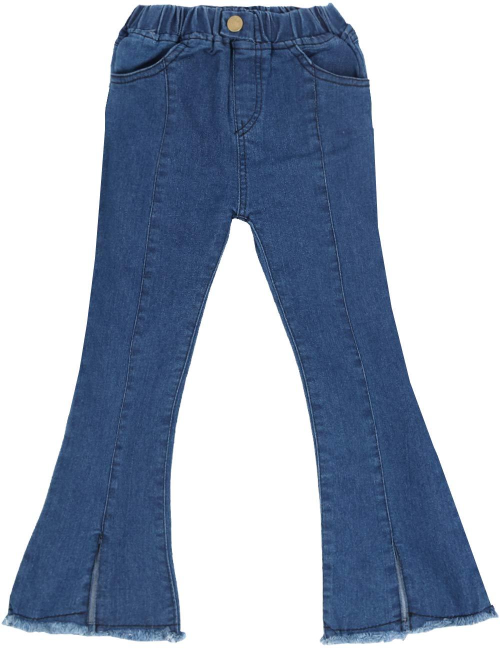 WIYOSHY Girls' Skinny Ripped Bellbottoms Elastic Waist Denim Jeans F919