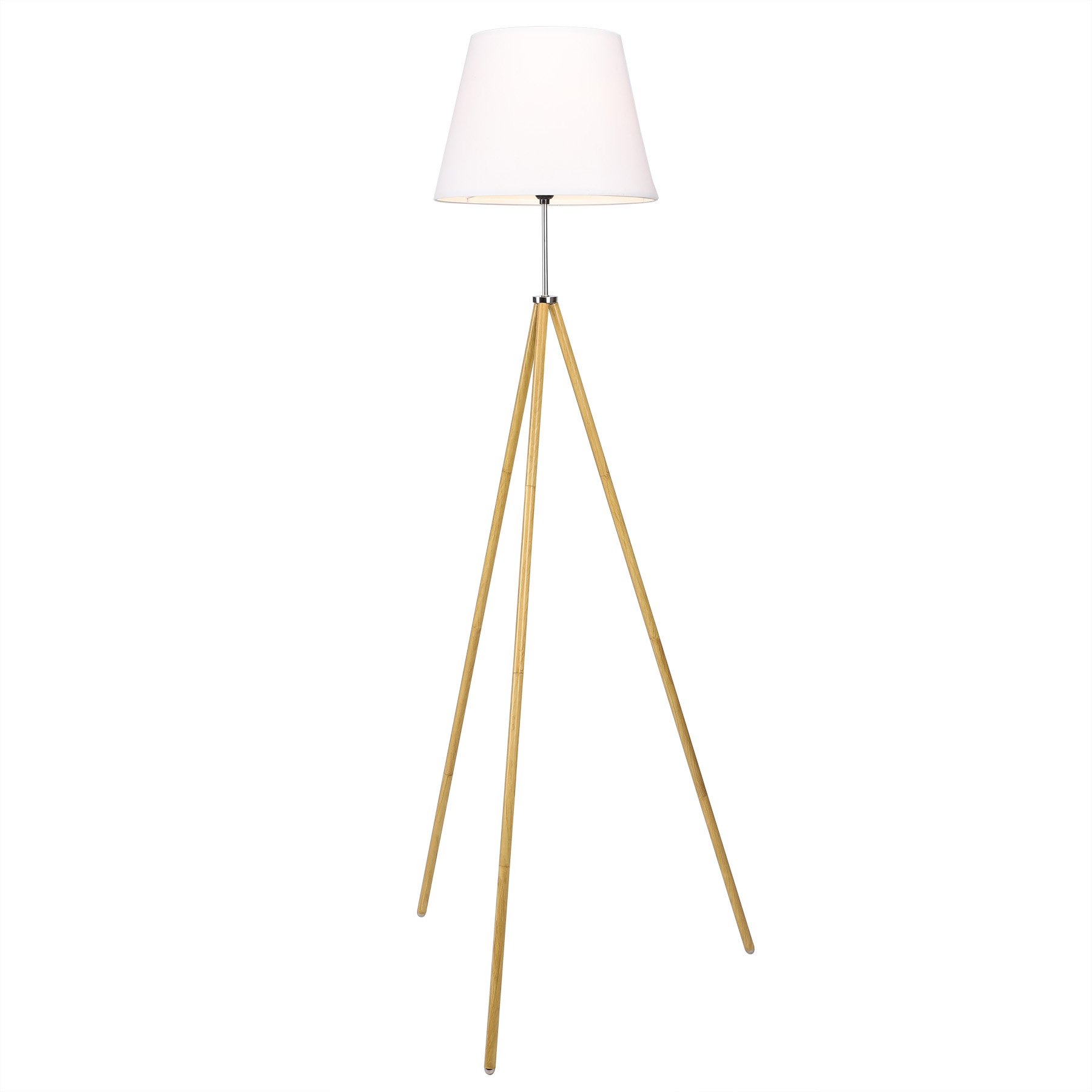 CO-Z 63'' Wood Tripod Floor Lamp, Modern Standing Lamp with Foldable White Fabric Shade & Foot Operated Switch, for Living Room, Family Room, Bedroom, Office