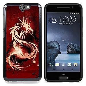"""Qstar Arte & diseño plástico duro Fundas Cover Cubre Hard Case Cover para HTC One A9 (Tribal Dragón Rojo"""")"""