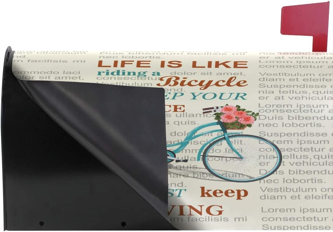 ZZAEO Life is A Journey Enjoy The Ride Bike Magnetic Mailbox Cover Mailbox Wrap Post Cover MailWraps Makeover Home Garden Yard Decorative for Standard Size 20.7 x 18.03 inch