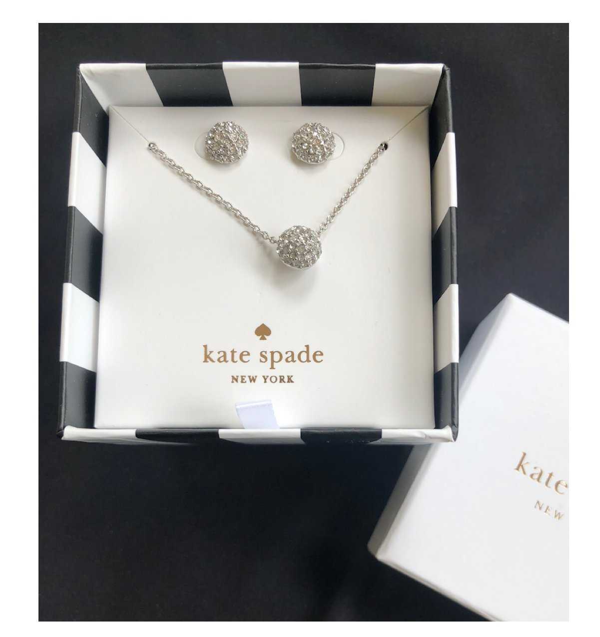 Kate Spade Pave Night Lounge Boxed Earrings & Pendant Set Silver tone