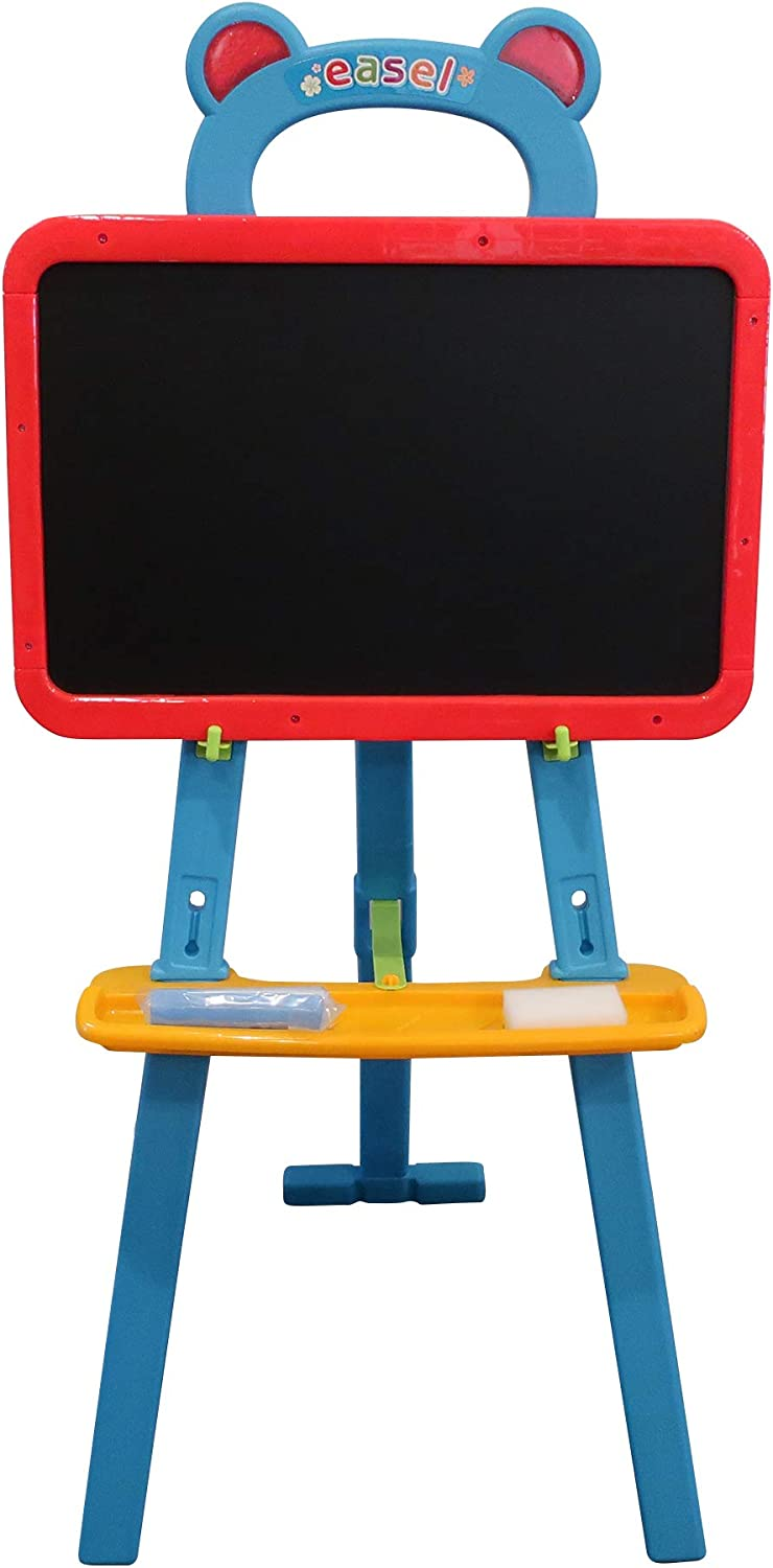 Chalk /& Eraser Art Easel for Kids 3 in 1 Dual-Sided Lightweight Magnetic Dry Erase Board and Chalkboard Kids Art Supplies Math Symbols Toddler Drawing Board Includes Numbers Blue Letters
