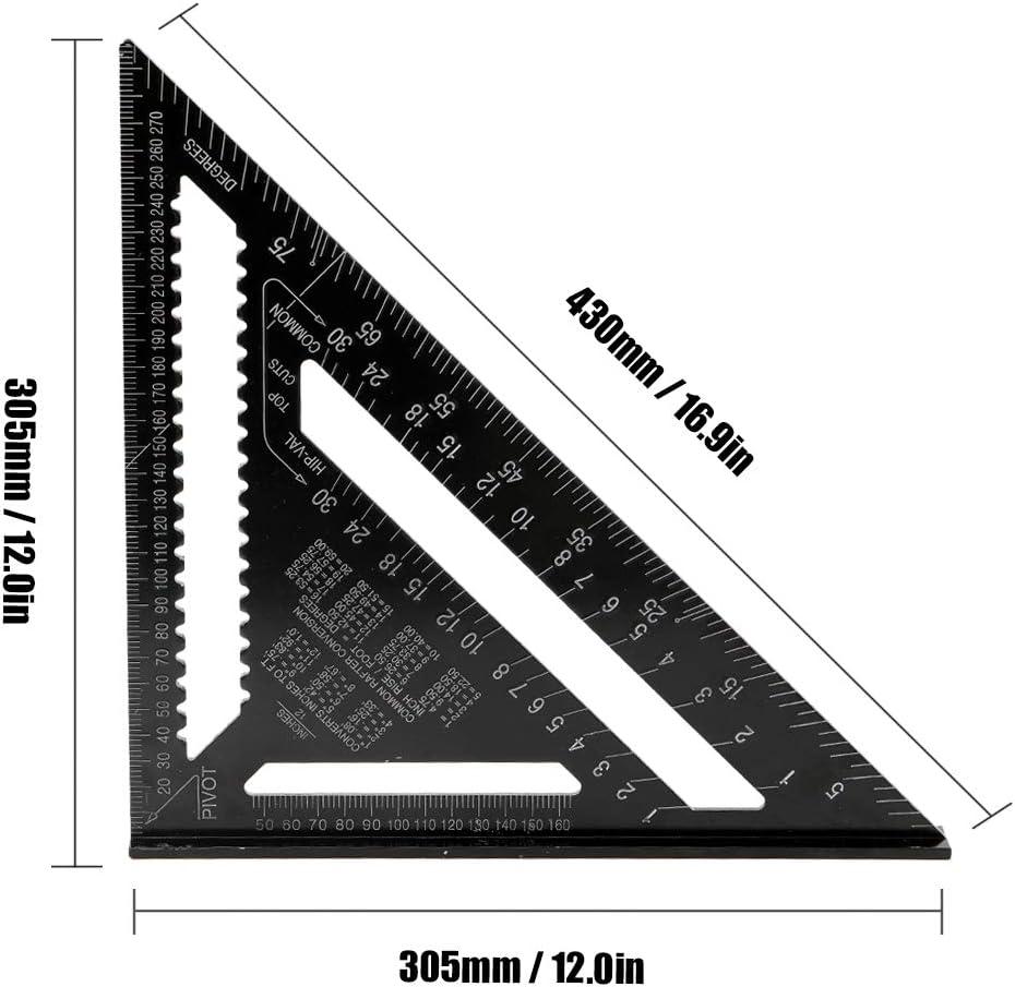 Aleaci/ón de aluminio 90 grados 45 grados Set Square 12in Black Metric Square Ruler Reglas triangulares Baugger
