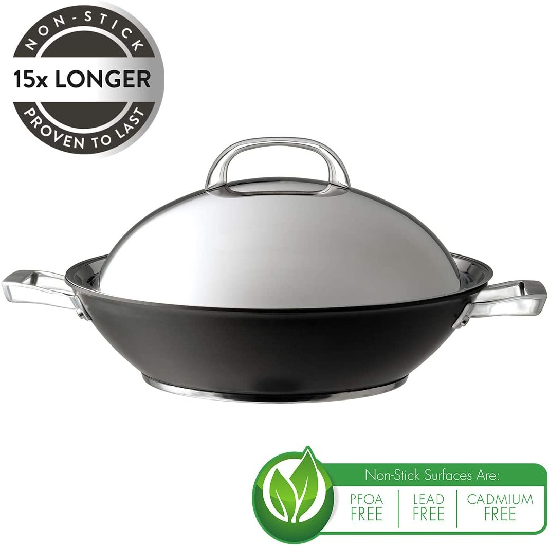 Saucepan and Frypan Set of 6 /& Infinite Wok 36cm Hard Anodized Aluminium Cookware Induction Non Stick Wok with Stainless Steel Lid Circulon Infinite Milkpan
