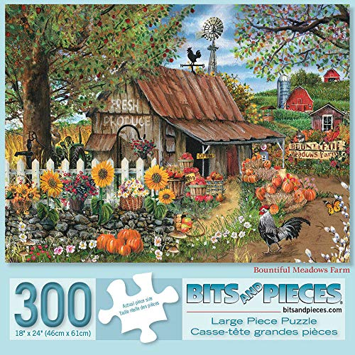 Bits and Pieces - Bountiful Meadows Farm 300 Piece Jigsaw Puzzles for Adults - Each Puzzle Measures 18
