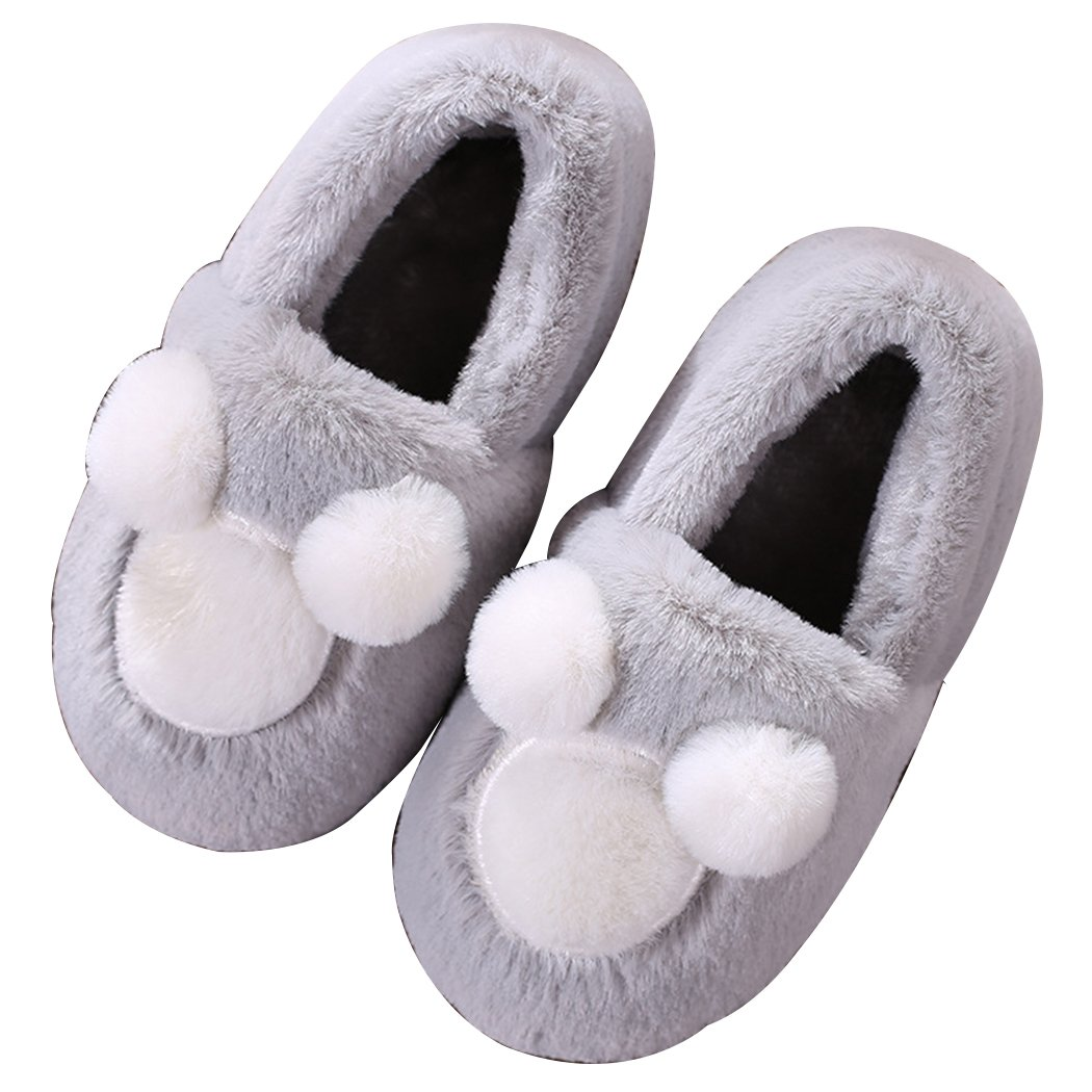 Winter Kids Cute Mouse Plush Winter Warm House Indoor Slippers Grey 11-12 B(M) US Little Kid