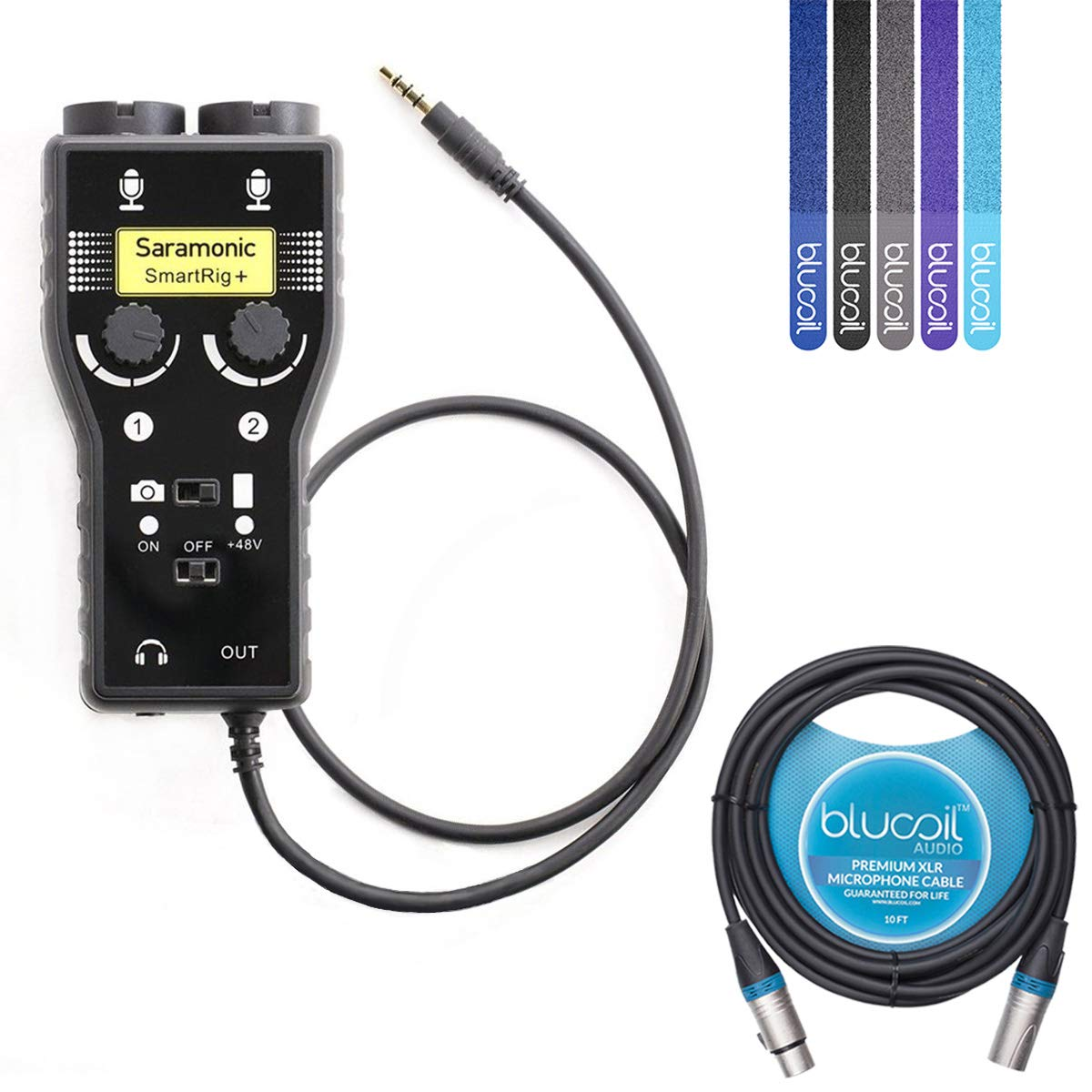 Saramonic SmartRig Plus 2-Ch Mixer/Audio Adapter with 48v Phantom Power for XLR / 3.5mm Microphones Bundle with Blucoil 10-Ft XLR Cable and 5-Pack of Cable Ties