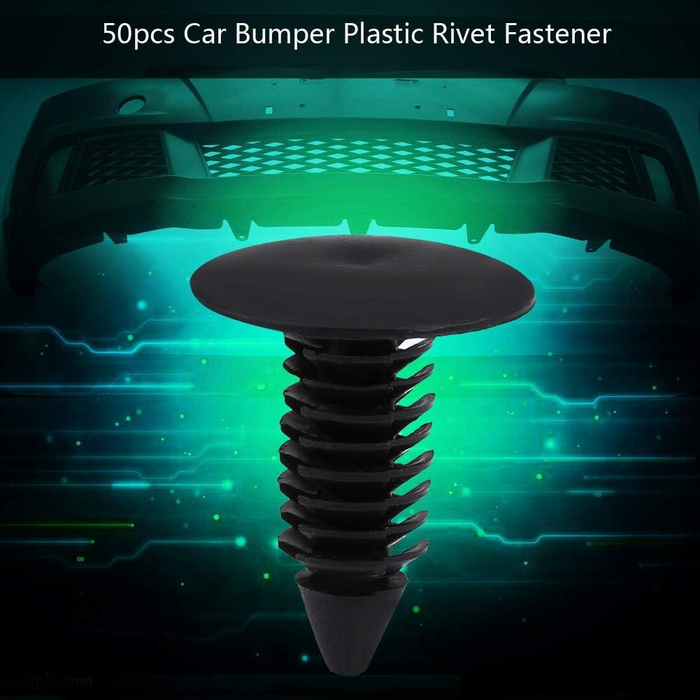 Keenso 50pcs Car Bumper Fastener Rivet Clips Fender Plastic Rivet Fastener Retainer Trim Push Pin Clip Black Car Accessories