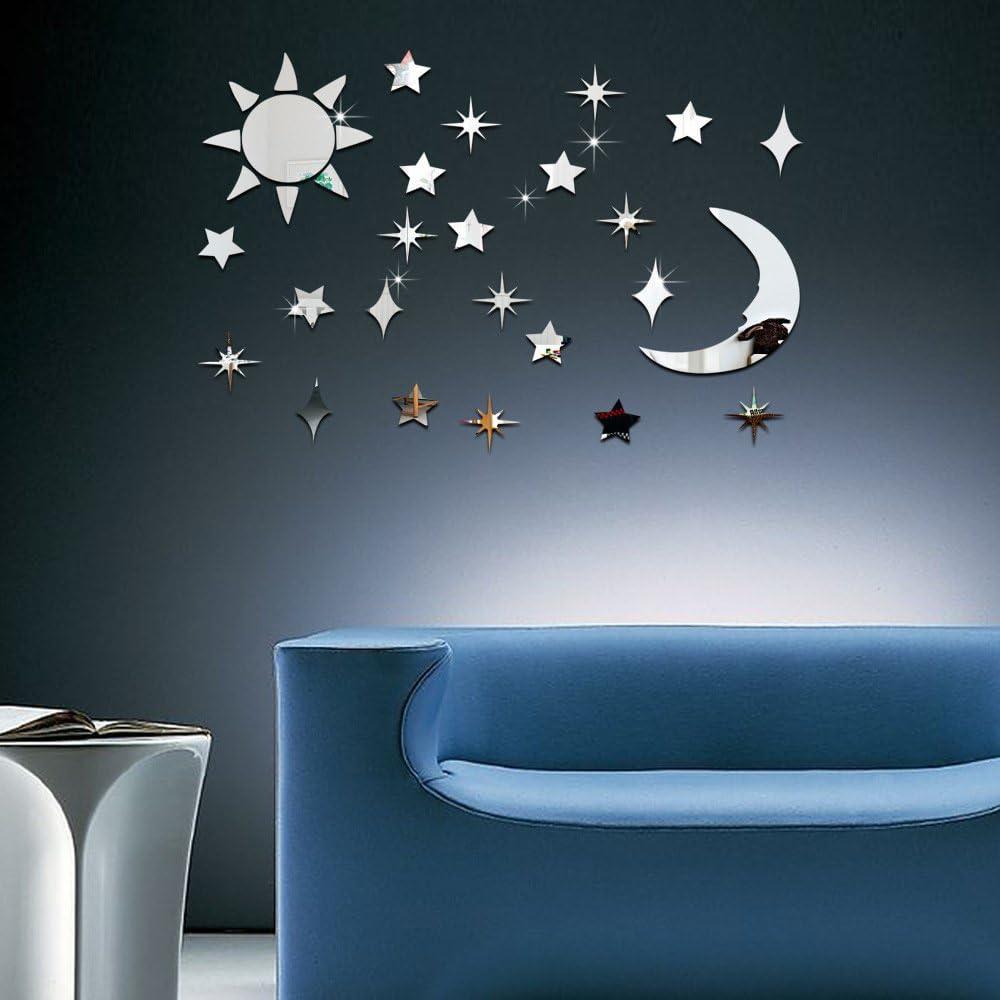 ufengke 3D Sun Moon Stars Mirror Effect Wall Stickers Fashion Design Art Decals Home Decoration Silver