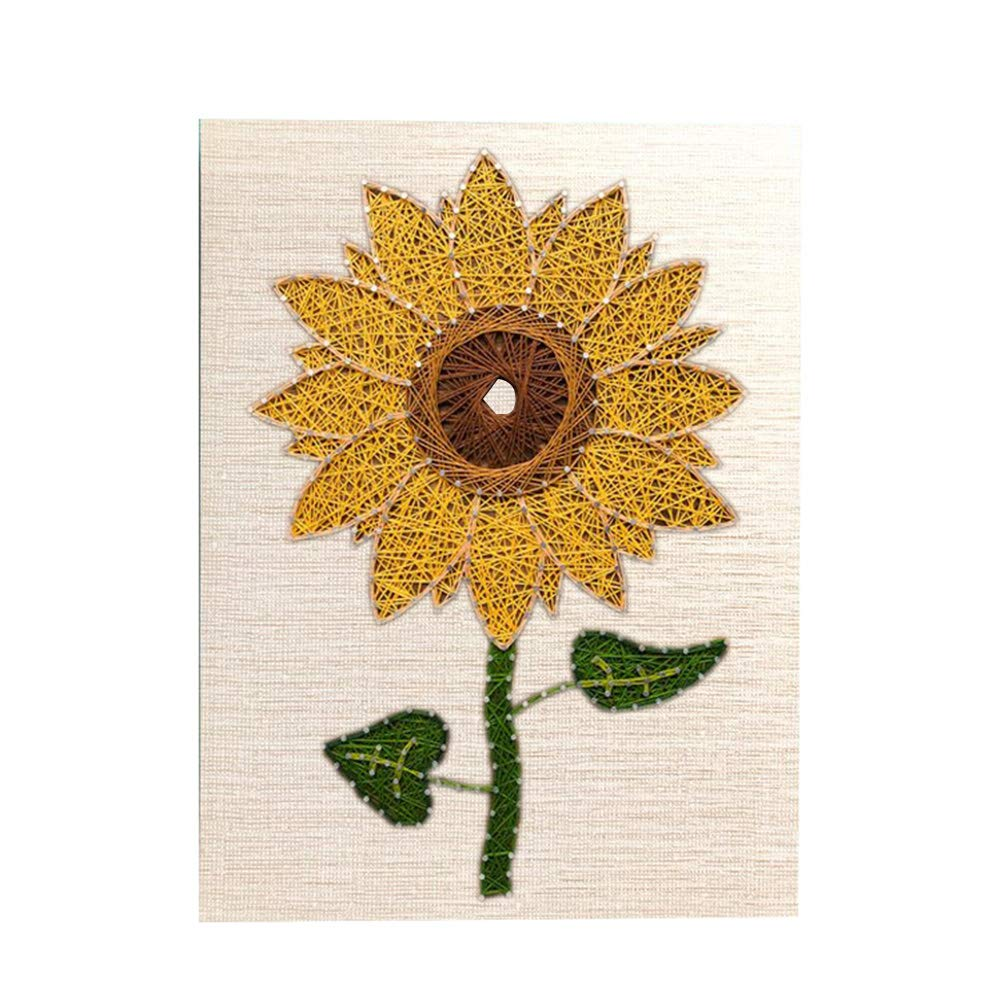 Home Decoration DIY Sunflower Three-Dimensional Thread String Silk Painting, Mural DIY Material Package Decompression Desktop Decoration Ornaments, Parent-Child Manual Interactive Game