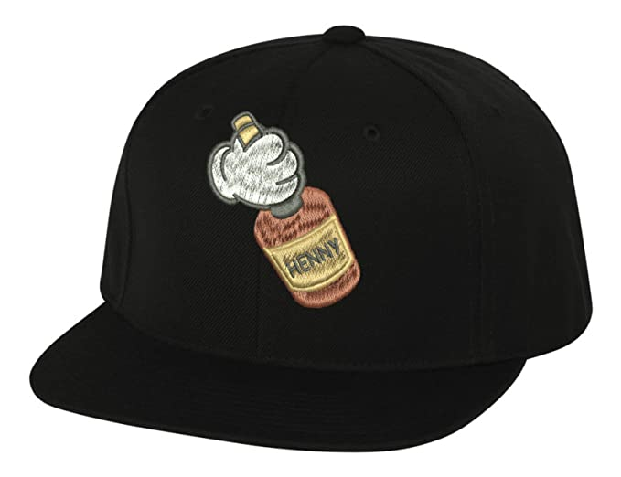 bcc5db34c67 Allntrends Adult Flat Bill Hat Mickey Hands Henny Embroidered Hat Trending  Cap (Black)