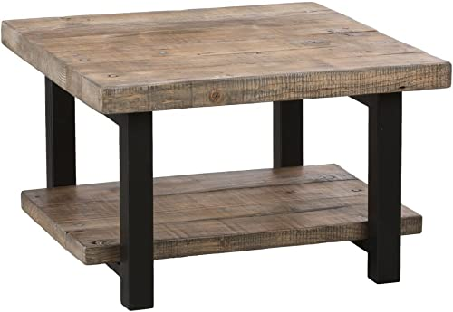 Bolton Furniture Pomona 27 Metal and Reclaimed Wood Square Coffee Table