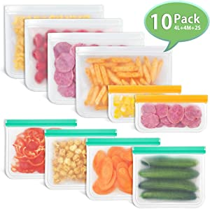 Reusable Storage Bags, Godmorn 10 Pack (4 Large Food Bags+4 Sandwich Bags+2 Snacks Bags) Leakproof BPA-Free Reusable Lunch Bags Ziplock Bags, Extra Thick FDA Food Grade Organizer,Freezer Safe