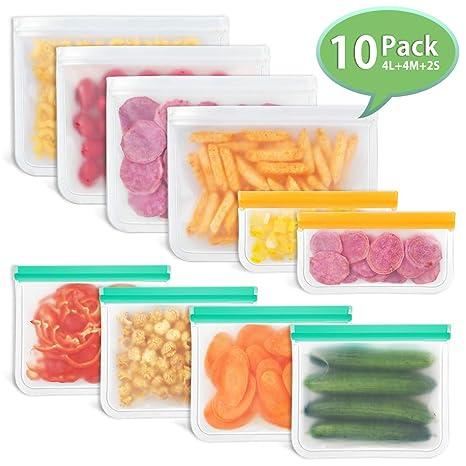 Godmorn Bolsas Reutilizables de Almacenamiento de Alimentos,Biodegradables, Bolsas Congelar Reutilizables,10Paquetes Bolsas para ...