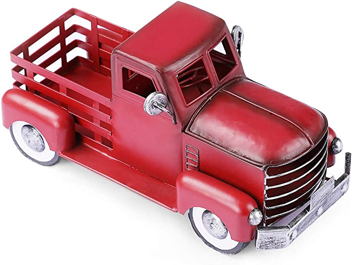 Vintage Red Truck Décor, Farmhouse Red Truck Christmas Decoration, Decorative Tabletop Storage & Pick-up Metal Truck Planter