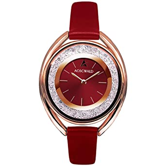 41bcf026542c Rhinestone Waterproof Lady Quartz Watch Fashion Leather Women Watch Casual  Ellipse Rose Gold Wrist Watch (