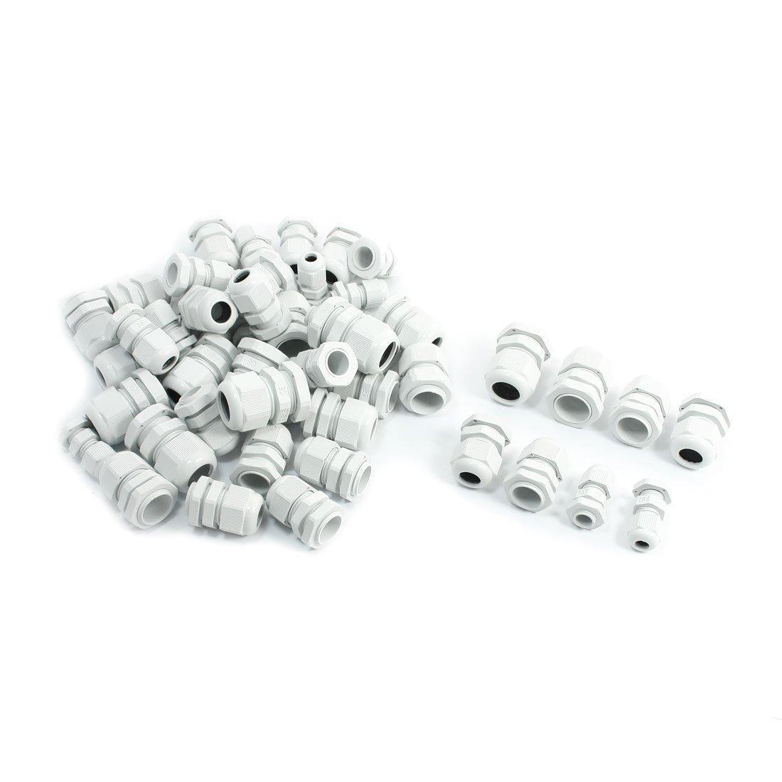 Lot de 50 raccords de câ ble é tanches Gamme PG7-PG16 3, 5-6 mm/10-14 mm Gris 5-6mm/10-14mm Gris Sourcingmap a14032600ux0479