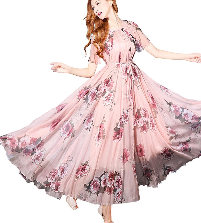 Medeshe Women\'s Floral Chiffon Beach Wedding Guest Sundress Maxi ...