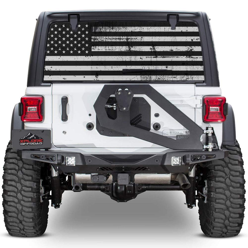 Amazon com xplore offroad jeep wrangler american flag rear window decal perforated automotive