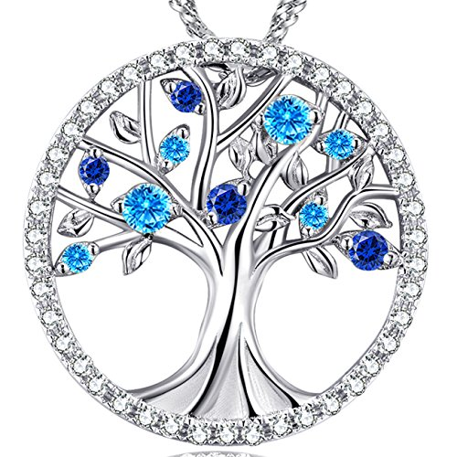 Day Necklace The Tree of Life Jewelry Blue Sapphire Pendant Birthday Gift for Women Sterling Silver Necklace Love Family Tree ()