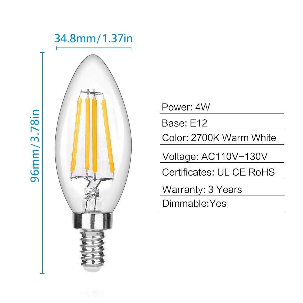 LEDERA Dimmable E12 LED Candelabra Bulb, 4W, 350lm, Candle Light Bulbs, Warm White 2700K, 6-Pack.