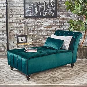 Rafaela | Button-Tufted New Velvet Chaise Lounge | in Teal