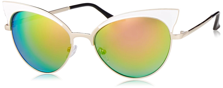 POP Fashionwear Women's P4105 Round Sunglasses, Gold/Pink Mirror
